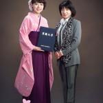 卒業写真 母と一緒に