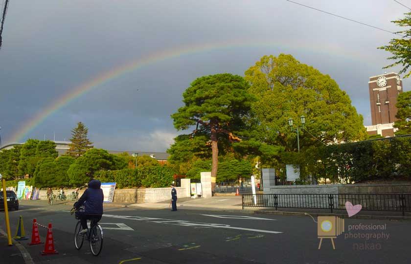 京都大学に架かる虹